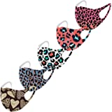 Luc 5PCS Adults Ice Silk Face_mask_protection Washable Reusable Breathable Leopard Print Cloth Face Fashion for Adults Cyclin