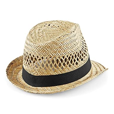 cd28d6da Beechfield Straw Summer Trilby - 2 Sizes: Amazon.co.uk: Clothing