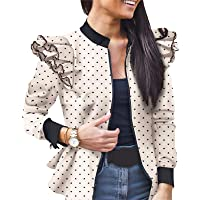 Onsoyours Donna Giacca Vintage Stampato Leopardo Maniche Lunghe Zip A Pois Sportiva Corta Bomber Giacche Giubbino Coat…