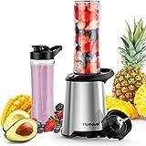 Homever Mini Blender, Smoothies Mixeur, Bouteille de Tritan 600mL Sans BPA, Moteur Puissant et 4 Lames en acier inoxydable, pour Milk-shake, Smoothies et Jus de Fruits et Legumes, 350W, Argenté
