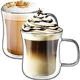 KAMEUN Tasse à Café , Verres à Espresso à Double Paroi ,Tasses en Verre Borosilicate Isotherme Résstant avec Poignée pour Thé