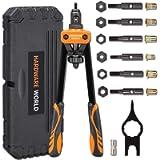 14' Rivet Nut Tool, Professional Rivet Setter Kit with M3 M4 M5 M6 M8 M10 Metric 6 Mandrels and 60pcs Rivnuts, Labor…