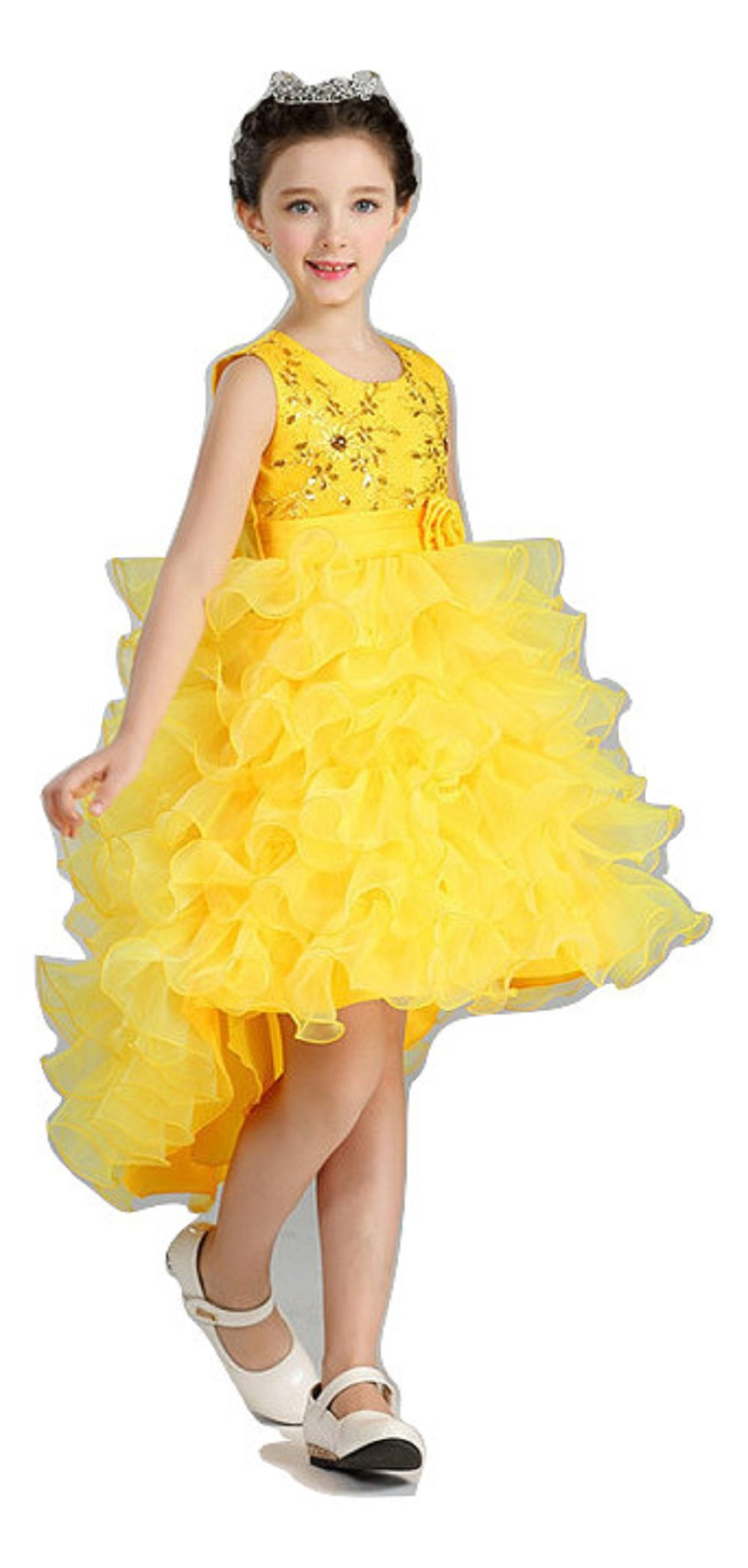 4a58fea8210 Royal Yellow Girls Elegant Tailed Embroidered Dresses Children Ruffled  Layers Long Tail Frocks Birthday Wedding Party