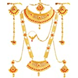 SATHIYA JEWELLERS Gold Plated Alloy Dulhan Bridal Jewellery Set for Women (Red and Golden)