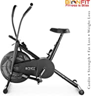 BIONFIT Indoor Air Bike Exercise Cycle with Dual Moving Arms for Home Gym Cardio Full Body Weight Loss Workout