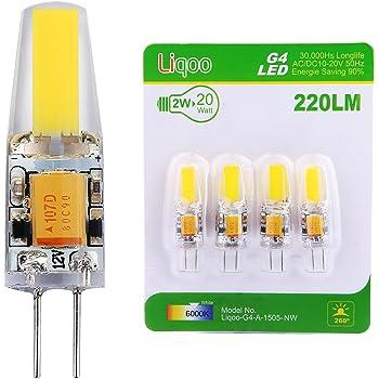 liqoo 4 x ampoule led g4 2 w cob ac dc 12v bulb lumi re blanc froid 6000k lampe spot light high. Black Bedroom Furniture Sets. Home Design Ideas