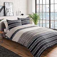 Sleepdown - Set copripiumino double-face, con motivo a righe, 135 x 200 cm + 1 federa 80 x 80 cm, in policotone, 135 x…