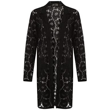 Womens Long Lace Duster Coat Ladies Floral Long Open Front Slip On ...