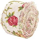 Rollo de cinta de arpillera vintage con diseño de rosas y flores de yute impresas, cinta de arpillera, correa de tela de boda