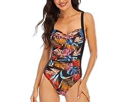 WIN.MAX Costume Intero Donna, Costume Intero con Controllo della Pancia, Costume da Bagno Taglie Forti per Donna Monokini Pus