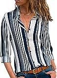 GOSOPIN Womens Striped Tops Long Roll Sleeve Button Down Blouses V Neck Casual Chiffon Shirts