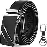 VBIGER Mens Belt Leather Belt for Men Black Automatic Buckle Adjustable Ratchet Belts for Jeans & Suits (120cm: Directly Suit