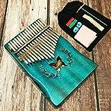 KIKILIVE piano à doigt,Tambours à main, piano portable à 17 touches en bois de kalimba avec étui de transport pour marteau de