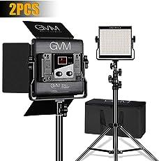 GVM 2 Pack led Video Lighting Bi-Color 2300K~6800K Video Light with Digital Display for Studio CRI97+ TLCI97 + Brightness of 10~100% Metal Housing for Video Photography Lighting Kit