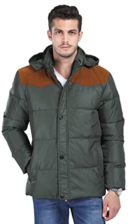 Fashciaga Men's White Duck Down Hooded Puffer Jacket Green Medium