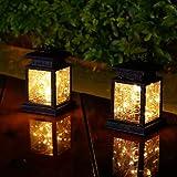 Latarnie solarne, solarne lampy ogrodowe wiszące z 30 diodami LED, 2 szt. latarnia zewnętrzna wodoodporna na Boże Narodzenie