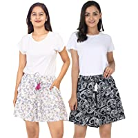 B STORIES Women's Viscose Printed Lounge Culotte Shorts (Pack of 2)