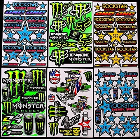 6 BLATT AUFKLEBER VINYL KB/ MOTOCROSS STICKERS BMX BIKE PRE CUT STICKER BOMB PACK METAL ROCKSTAR ENERGY SCOOTER