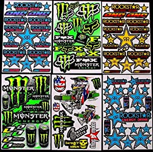 6 sheets quot motocross stickers quot kb0 boys rockstar bmx bike sticker bomb pack scooter moped army