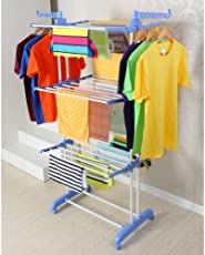 SAIMANI Stainless Steel Double Pole Cloth Drying Stand Rack, Large (Orange)