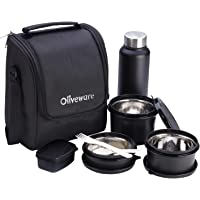 Oliveware Teso Lunch Box with Bottle - Black | 3 Stainless Steel Containers and Pickle Box and Assorted Steel Bottle…