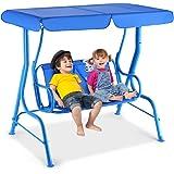 Dondolo da Giardino per Bambini Due Posti, Altalena per Bambini Gioco da Esterno Dondolo 112x108x75cm (Blu)