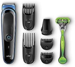 Braun Multigrooming-Set MGK3040 Elektrisches Rasierer Set, 7-In-1 Präzisionstrimmer Für Bart und Haar. Mit Gillette Body Rasierer, schwarz/blau