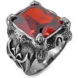 MunkiMix Grande Acciaio Inossidabile Anello Anelli Zirconia Cubica Zircone Tono Argento Nero Rosso Drago Dragon Artiglio Fleu