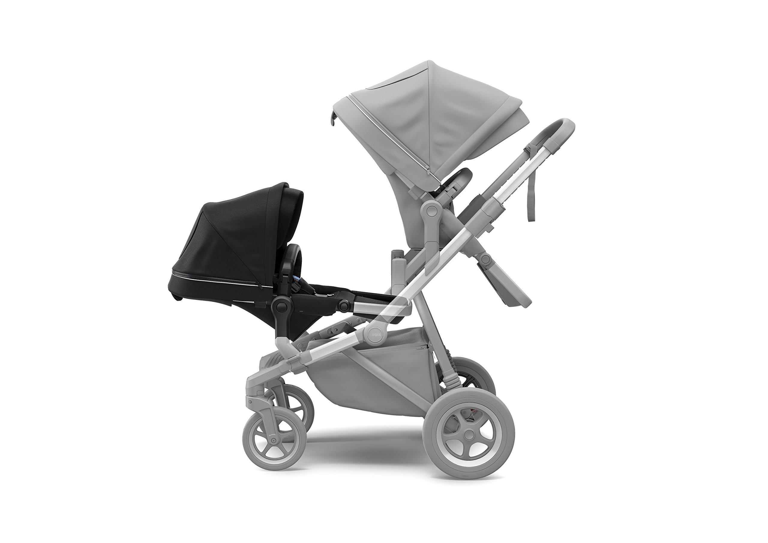 Thule Sleek Sibling Seat, Black Thule Ventilated canopy with peekaboo window and extendable sun visor gives your child a pleasant ride in any weather and provides UV protection (UPF 50+) Comfortable large seating area, with generous sitting height and foot well Reversible seat for parent- or forward-facing position 3