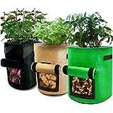 SENXINGYAN Potatis Väskor 3 pack 10 gallon potatis växande väskor blomma grönsaker växande väskor med klaff kardborrfönster &