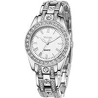 YOSIMI Woman Watch Quartz Waterproof 30M Steel Bracelet Luminous Sapphire Easy Read Roma Numbers White Dial