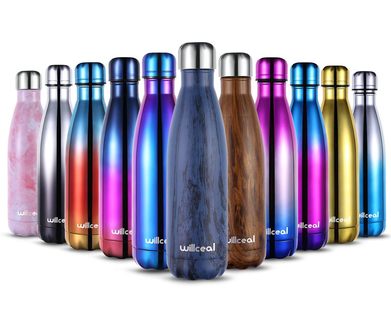 willceal Edelstahl Doppelwand Vakuumisolierte Wasserflaschen 500 ml, auslaufsicher halten kalte und heiße Getränke…
