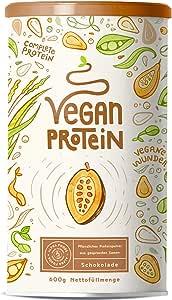 Vegan Protein | SCHOKOLADE | Pflanzliches Proteinpulver mit Reis-, Soja-, Erbsen-, Chia-, Sonnenblumen- und Kürbiskernprotein | 600 Gramm Pulver