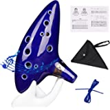 Ocarina, Zetong 12 Trous Céramique Alto C Instrument de Musique de Flûte de Vaisseau La légende de Zelda (Bleu)
