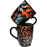 SHIVOW Ceramic Coffee Mugs Set of 2 Glossy Black 320 ML