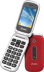 Olympia 2217 Mira Mobiltelefon-/ Seniorenhandy (Große Tasten, Notruf-Taste, Klappbares Großtasten-Handy, geeignet für Senioren, Rentner ohne Vertrag, Altersgerechtes Klapphandy mit Tasten) rot