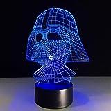 Luz de noche 3D Luz de noche LED de 7 colores 3D USB Darth Vader Star Wars Lámpara de escritorio Iluminación del sueño del be