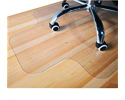 GIOVARA - Tappetino trasparente per sedia con bordo per pavimenti duri, 90 x 120 cm, ad alta resistenza agli urti, antiscivol