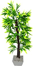 FancyMart Artificial Bamboo Leaves Bonsai Tree with White Square Pot(Height 60 cms / 24 inchs)