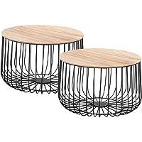 IDIMEX Lot de 2 Tables d'appoint Padova Tables à café Tables Basses Rondes Bouts de canapé Design Vintage Industriel, Rangement Panier en métal avec Plateau Amovible en MDF décor Bois Naturel