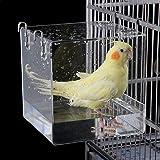 Aceshop Bird Bathtub Hanging Bird Bath Bowl Transparent Acrylique Bird Bath House Bath House, Accessoire de Cage à Oiseaux av