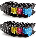 Delcomcomputers & Wantmoreink Lot de 12cartouches d'encre compatibles pour imprimantes Brother LC1220LC1240pour Brother MFC-J280W, MFC-J425W, MFC-J430W, MFC-J435W, MFC-J5910DW, MFC-J625DW, MFC-J6510DW, MFC-J6710DW, MFC-J6910DW, MFC-J825DW, MFC-J835DW, DCP-J525W, DCP-J725DW, DCP-J925DW