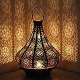 albena shop 71-5240 Jadoo Oriental Fer Lanterne de Jardin 30cm Style marocain métal Noir/intérieur Or