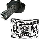 New Mens Leather Grained Kilt Belt & Antique Celtic Thistle Buckle - Choose Size