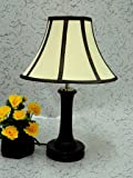 Wooden Table LAMP with Stripe Shade