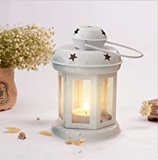 Tied Ribbons Lanterns Decoration with Tealight Candle (White)