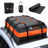 XBEEK Car Roof Top Rooftop Cargo Carrier Bag 20 Cubic feet Waterproof for All Cars with/Without Rack, Includes Anti-Slip Mat,