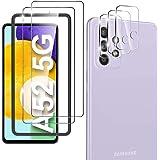 yotame Protector de Pantalla Compatible con Samsung Galaxy A52 5G, 2 Piezas Cristal Templado + 3 Piezas Protector de Lente de