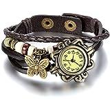 JewelryWe Reloj de pulsera de cuarzo para mujer con colgante de mariposa, pulsera vintage marrón,