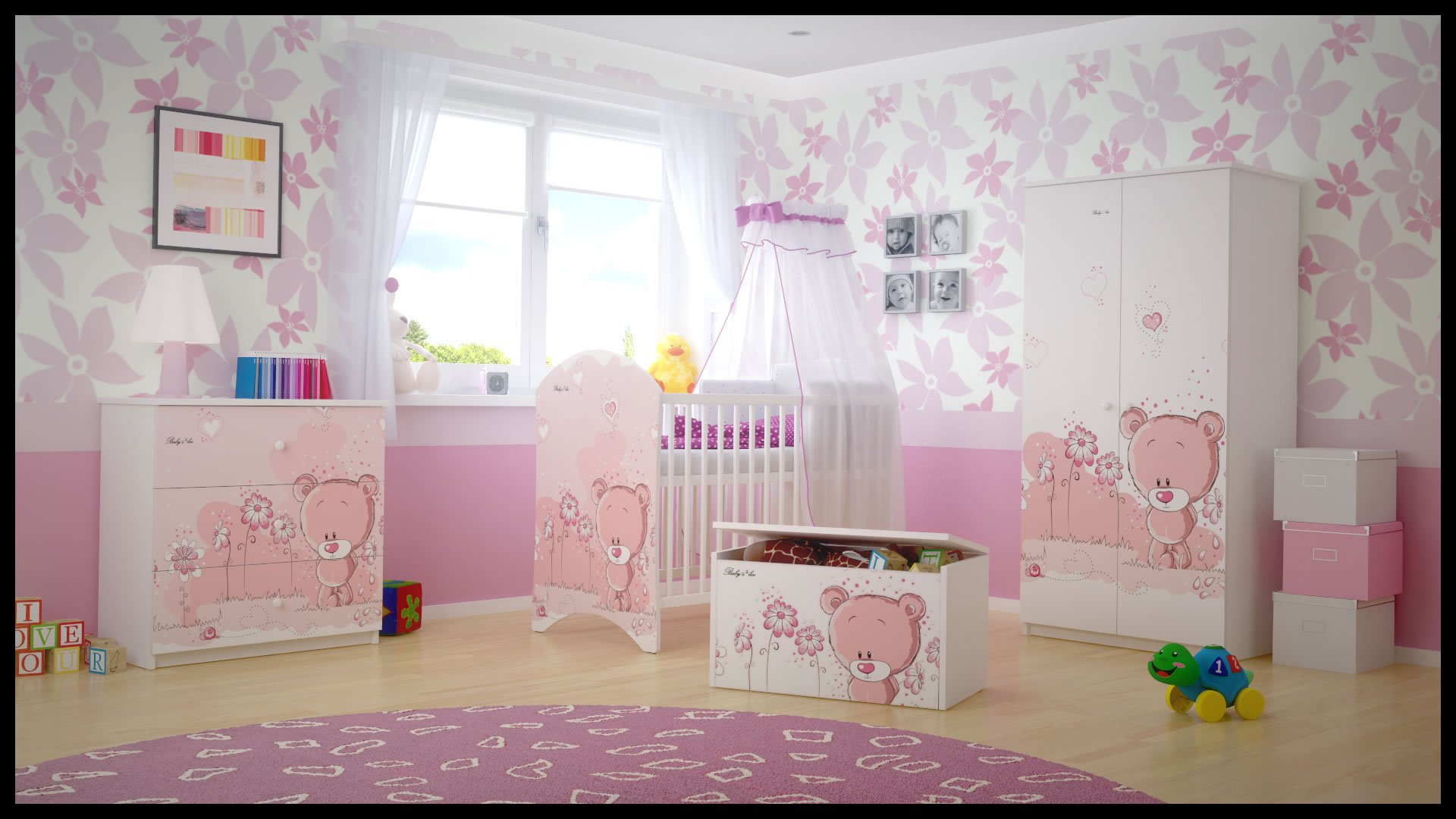 5 PCS BABY NURSERY FURNITURE SET - COT + MATTRESS + WARDROBE + CHEST OF DRAWERS + TOY BOX (model 18)  Included: cot + mattress + wardrobe + chest of drawers + toy box Material: wood GREAT QUALITY 1